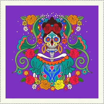 AFONSO FRANCO - TRICOLINE ESTAMPA DIGITAL - PATCH CATRINA FUNDO ROXO