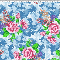 AFONSO FRANCO - TRICOLINE ESTAMPA DIGITAL - FAT QUARTER ESTAMPA CAMUFLADO AZUL 50x75 cm