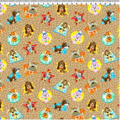 AFONSO FRANCO - TRICOLINE ESTAMPA DIGITAL - FAT QUARTER ESTAMPA MEUS PETS MARRON 50x75 cm