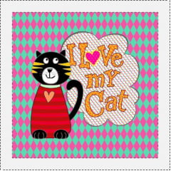 AFONSO FRANCO - TRICOLINE ESTAMPA DIGITAL - PATCH I LOVE MY CAT