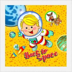 TECIDO TRICOLINE ESTAMPADO BACK TO SPACE PATCH AFONSO FRANCO